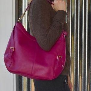 Ora Delphine Bags - ORA DELPHINE RASPBERRY SHOULDER SATCHEL BAG $395